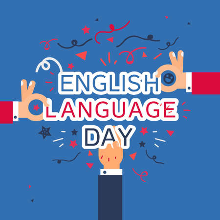 English Language Day Banner With Humans Hands. Vector