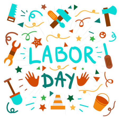 workers rights: Labor Day Lettering Greeting Banner In View Ribbon With hammer, screwdriver, spanner, tool. First May Poster. Vector