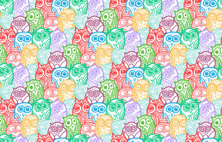 Hand Drawn Funny Owl. Owls seamless pattern for print, fabric, wrap and illustration, game, web and childrens items. Vector