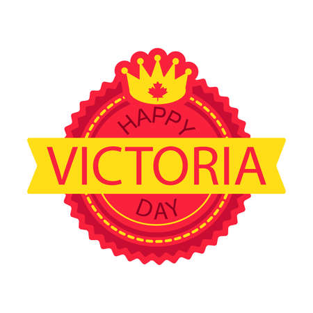 Happy Victoria Day Sticker And Banner With Royal Crown. Vector