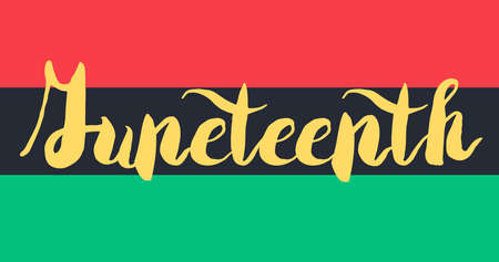 emancipation: Juneteenth Banner With Flag For 19 June. Vector