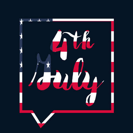 nationalism: 4th Of July USA Independence Day Celebration Banner. National American Greeting. Vector Illustration