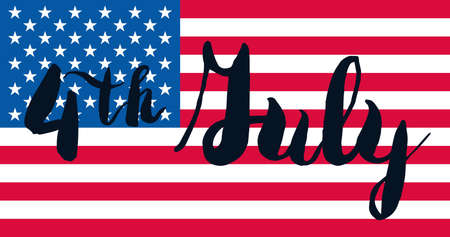4th Of July USA Independence Day Celebration Banner. National American Greeting. Vector Illustration