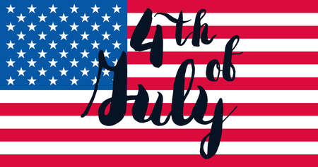 4th July USA Independence Day Celebration Banner. National American Greeting. Vector