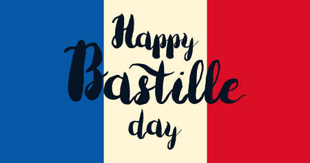 fourteenth: Happy Bastille Day Celebration Banner. France Independence Greeting. Vector Illustration