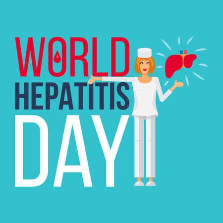 hepatitis prevention: World Hepatitis Day Banner For 28th Of July. Vector