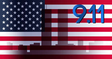 Patriot Day Banner. 11th September. We will never forget. Twins Tower. Vector