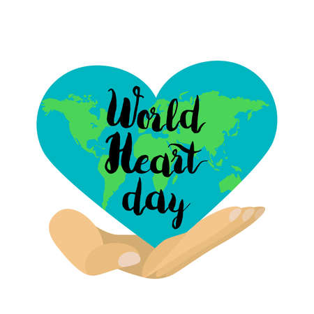 World Heart Day Celebration Stylish Banner Vector