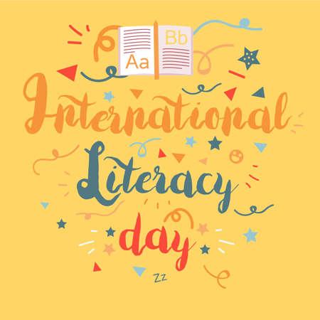 International Literacy Day banner. Illustration