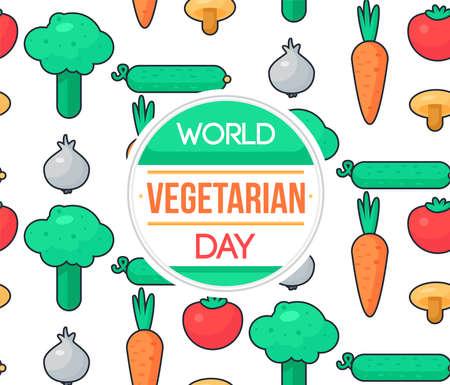 야채와 함께 세계 채식 날 축 하 배너입니다. 벡터