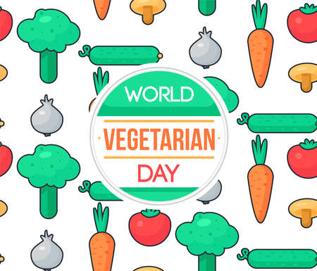 World Vegetarian Day Celebration Banner Met Groenten. Vector