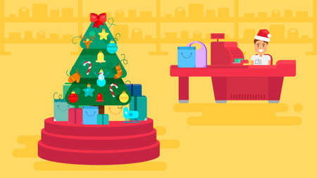 Merry Christmas And New Year In Shop. Store with customers crowd and cashier near cash desk. Gifts and presents. Shopping concept illustration. Sale Boxing Day banner. Vector Illustration