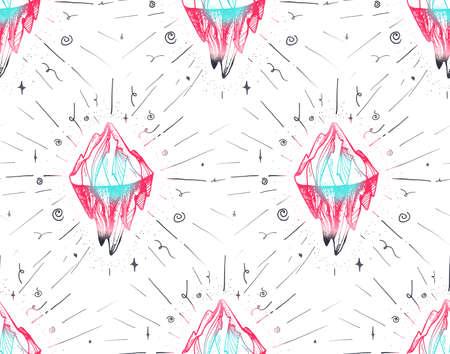 Inspirational mountain seamless pattern for print, fabric, t-shirt, greeting, card. Vintage boho hand drawn nature iceberg peak. Travel outdoors adventure. Motivational meditation ornament. Vector