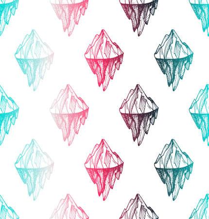 Inspirational mountain seamless pattern for print, fabric, t-shirt, greeting, card. Vintage boho hand drawn nature iceberg peak. Travel outdoors adventure. Motivational meditation ornament.