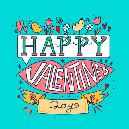 Happy Valentines day greeting banner with pink lips, flowers, birds and hearts vector illustration. Illustration
