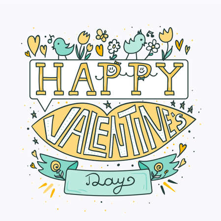 Happy Valentines Day greeting banner with pink lips, flowers, birds and hearts.