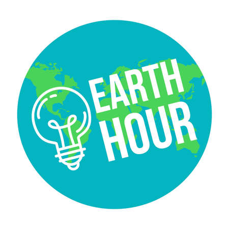 Earth Hour Banner With Lamp And Text. Ecology poster.