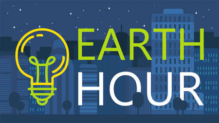 Earth Hour Banner With Lamp And Text. Ecology poster. Vector 스톡 콘텐츠 - 96032634