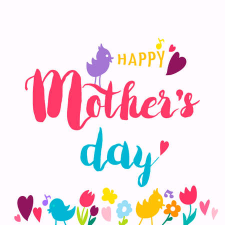 Mothers Day Hand DrawnLettering With Heart. Vector