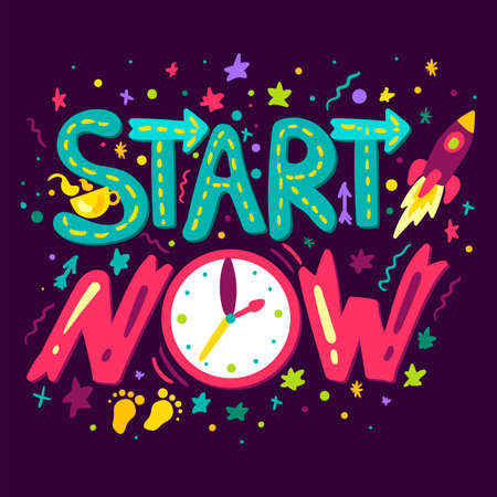 Start Now Concept With Rocket, Cup of Tea or Coffee and Clocks. Vector Stock Photo