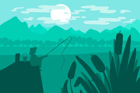 Fisherman sitting with a fishing rod on the bridge on the river near the mountains. Vector
