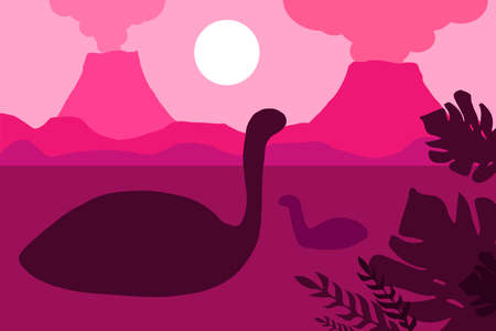 Floating dinosaurs on a background of volcanoes. Vector