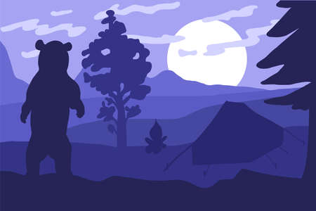 Bear in the camping. Forest sunset. Vector