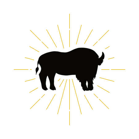 Retro standing bison silhouette logo. Nature sign and farm vintage logotype. Wild buffalo icon. Zoo or reserve symbol. Vector