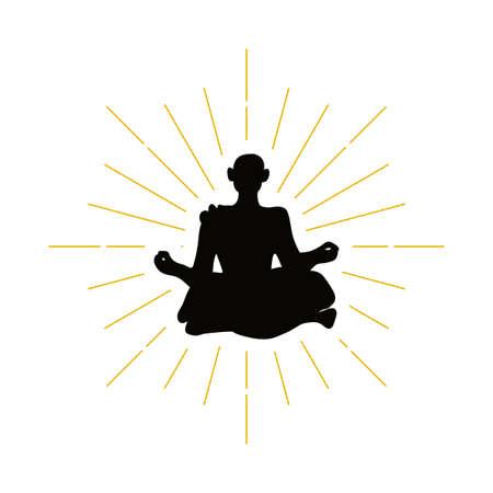 Retro hermit silhouette logo. Monk sign and vintage logotype. Meditation icon. Yoga symbol. Vector illustration. Illustration