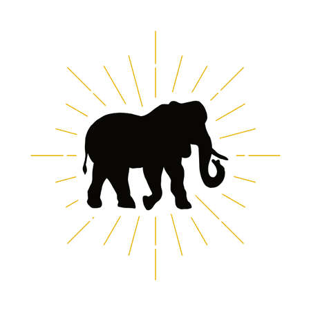 Retro elephant silhouette vector illustration