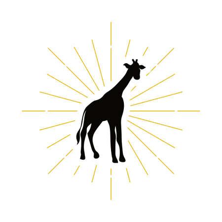 Retro giraffe silhouette logo. Wild Sahara sign and vintage logotype. Zoo icon. African symbol. Vector