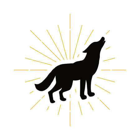 Retro howling wolf silhouette vector illustration 일러스트