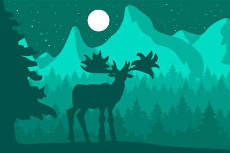 Elk in the night coniferous forest near the mountains under moon. Vector illustration.  イラスト・ベクター素材