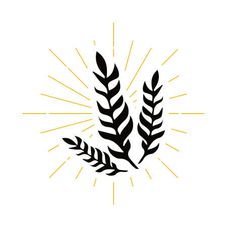 Retro plant silhouette logo. Tropics sign and vintage logotype. Exotic tree icon. Winning symbol. Vector