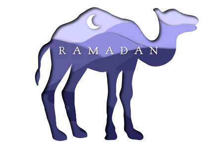 Ramadan greeting card design with camel vector illustration Vectores