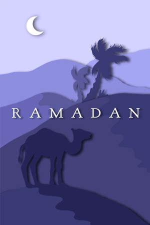Ramadan greeting with camel, Islamic greeting card for Ramadan Kareem. Illustration