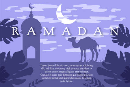 Ramadan greeting with camel, Islamic greeting card for Ramadan Kareem. 写真素材 - 100359810