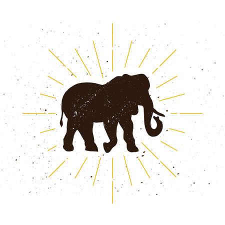 Retro elephant silhouette logo. Power sign and vintage logotype. Zoo icon. Delivery symbol. Vector illustration. Standard-Bild - 100232091