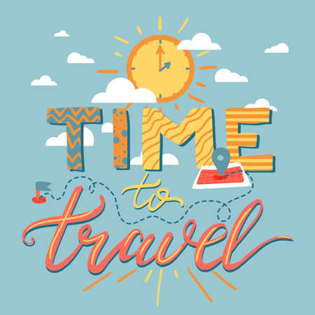 Time To Travel Lettering Poster. Tourism, motivational and adventure banner. Inspirational retro label. Vector illustration.