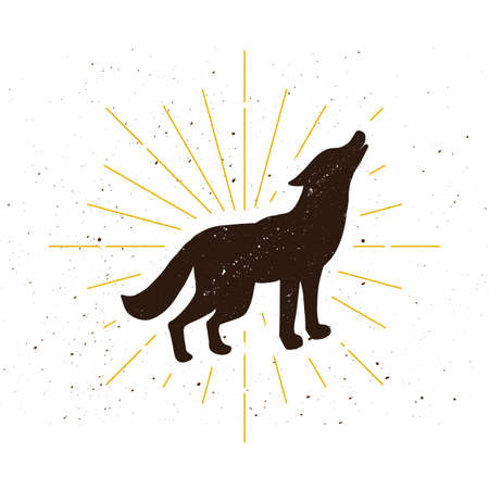 Retro standing howling wolf silhouette logo. Nature sign and vintage logotype. Wild animal icon. Zoo or reserve symbol. Vector