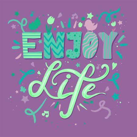 Enjoy Life Lettering poster template vector illustration