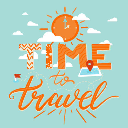 Time To Travel Lettering Illustration