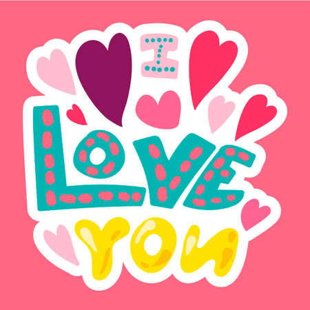 Vector Romantic Love Patch in doodle style Illustration
