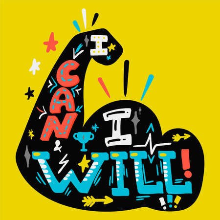 I Can And I Will. Inspire sport slogan Ilustrace