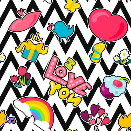 Vector Romantic Love Seamless Pattern in doodle style with shape. Girl fashion ornament. Nice cartoon background. Fun backdrop. Illustration