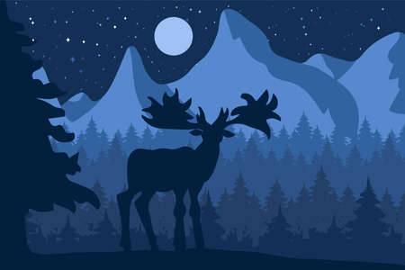 Elk in the night coniferous forest near the mountains under moon. Vector