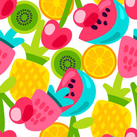 Vector Summer Fruits Patterns in cartoon style. Fruits and berries. Sweet backdrop Stock Illustratie