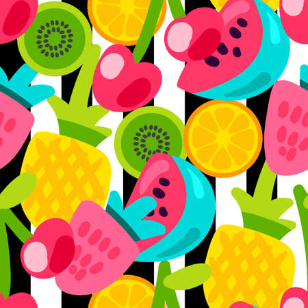 Vector Summer Fruits Patterns in cartoon style. Fruits and berries. Sweet backdrop Ilustração