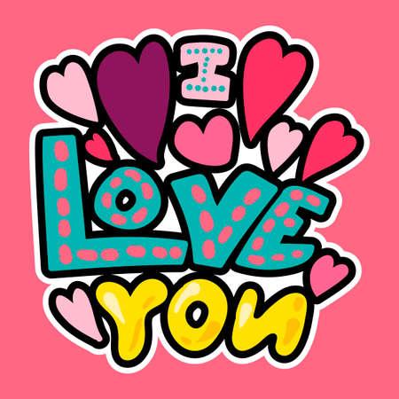 Vector Romantic Love Patch im Gekritzel-Cartoon-Stil. Ich liebe dich. Mädchenmode Patchworks Design. Schöner Cartoon-Aufkleber. Spaßabzeichen.