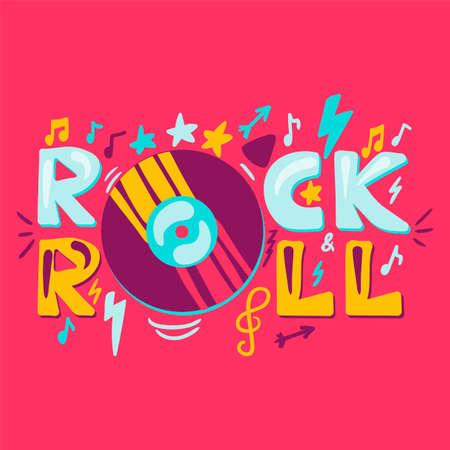 Rock n roll label with vinyl. Retro music symbol. Heavy metal sign. Vector